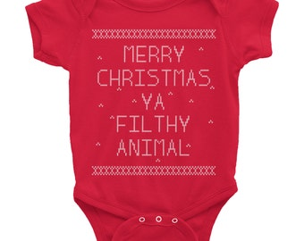 Merry Christmas Ya Filthy Animal // Holiday Onesie // Christmas Onesie // Funny Christmas Onesie // Short Sleeve Onesie // Baby Onesie