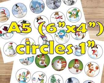 30 Snowman Christmas Digital Party Stickers Circles size 1'' sheet A5 (4''x 6'') Bottle Cap images Cupcake Toppers  Disney New Year