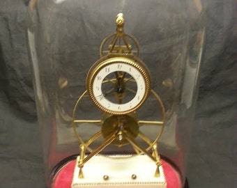 French Inverted Y Skeleton Clock with Glass Dome
