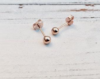 Stud Earrings | 2mm Stud Earrings, Nickel Free, Rose Gold Plated, Rose Gold Stud Earrings, Rose Gold Earrings, Rose Gold Studs, Ball Earring