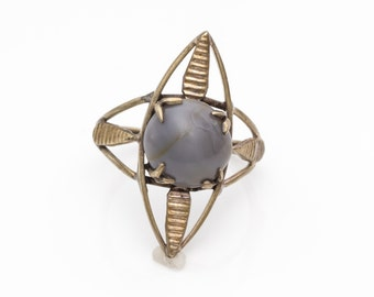 1980s Vintage Unique Compass Inspired Ring with Large Gray Center Stone, VJ #795