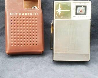 Vintage Mitsubishi 6X-148 Transistor Radio in Original Leather Case