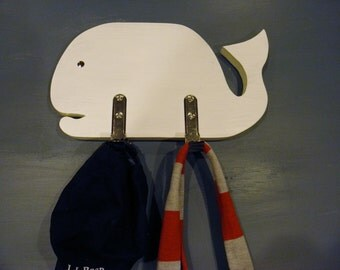 Wood Whale Coat Rack - Ready to Hang - 2 Hooks - Nautical - Coastal - Cottage - Kids Bedroom - Nursery - Seashore