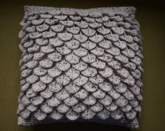 Textured crocodile stitch crochet cushion