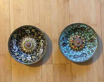 Brass Plates with Enamel Intricate Design;  Vibrant Colors; Blues, Reds, Whites, Yellows, Greens