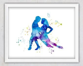 Tango danza imprimir acuarela lmina de bailarines de Tango