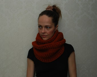 Cowl knit infinity scarf Monro rusty cowl orange cowl brown cowl knit scarf neck warmer knitted circle scarf knit snood Christmas gift
