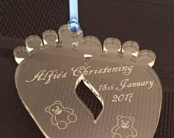 Personalised Baby Feet Christening Gift/Keepsake/Memory
