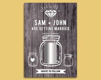 Fun Save the Date Cards. Scatch Off Cards.Save our Dates. Printed Inc Envelopes. Scratch & Reveal. Rustic. Vintage Wedding. Mason Jars.