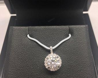 Pink Diamond Petite Halo Pendant in 14K White Gold