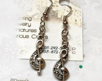 Silver Treble Clef Earrings, Shepherd's, Fishhook, Nickel Free, Iron, Baubles, Music, Musician, Rock, Singer, Songwriter, Sheet Music