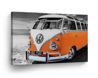 Classic Volkswagen Van Orange in Black and White Canvas Print Home Decor /Old Vintage Bus /Camper/Wall Art Gallery Wrapped /Ready to Hang