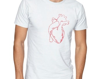 Red Human Heart Organ Outline On A White Short-sleeve T-shirt 100% Cotton Tee