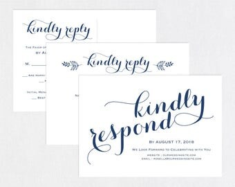 Navy Blue RSVP postcards templates, Wedding rsvp cards, wedding rsvp postcards, kraft rsvp card, RSVP Template, RSVP Postcard, WPC_667
