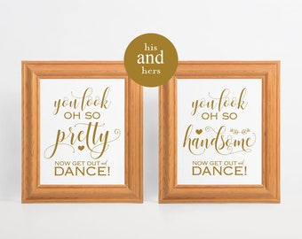 Elegant Gold Wedding Bathroom Signs, Menu0027s Bathroom Sign, His And Hers Bathroom  Signs, Wedding