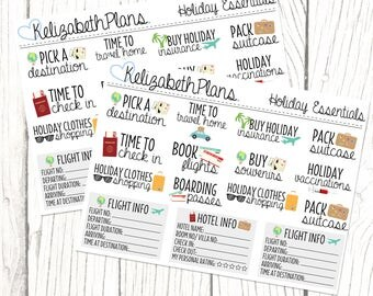 Holiday Essentials | Vacation, Holiday, Summer, Abroad, Packing, Planner Stickers