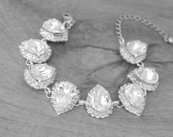 Crystal Bridal bracelet, Wedding jewelry, Bridesmaid bracelet, Clear crystal bracelet, Sterling silver bracelet, Swarovski crystal bracelet