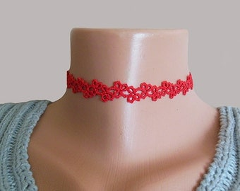 Red tatting choker, red lace necklace, collar necklace, red choker tattoo, trendy choke,  Christmas gift idea,,holiday jewelry