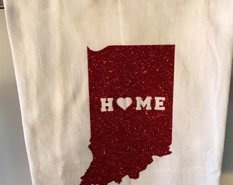 Tea Flour Sack Towel, Indiana, Rustic Decor, Kitchen Towel, Gift, Kitchen Decor/FREE SHIPPING