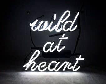 "Handmade 'Wild At Heart' Beautiful Art Sign Banner Neon Sign 10""x10"""