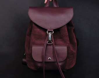 Bordeaux suede leather backpack. Suede rucksack. Womens backpack. hipster backpack. simple backpack. Backpack for women.