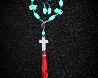Tri-color Necklace (full Set)Red/ Turquoise/ Green.