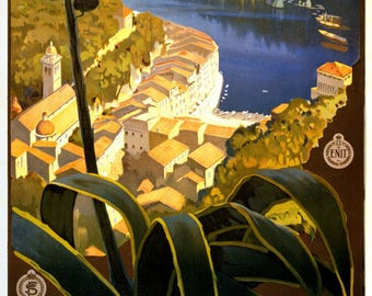 Vintage Travel Poster A4 of the Italian Riviera