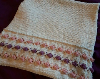Pink, Purple and Cream Bobble Pram Blanket for Babies