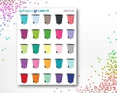 Rainbow Trash Cans | Planner Stickers | ECLP | Happy Planner | Recollections