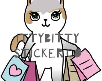 Mauly goes Shopping - Hand Drawn IttyBitty Kitty  Collection - Planner Stickers