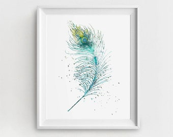 Feather Art Print, Printable Feather, Digital Feather, Feather Painting, Turquoise Blue, DIY Nursery Art, Watercolor Feather, Feather Art