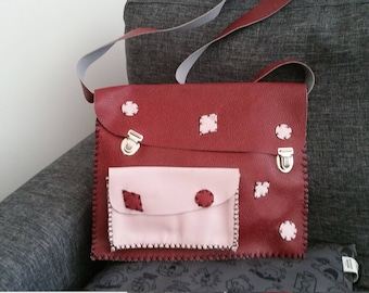 """Satchel """""""" handcrafted, unique leather."""
