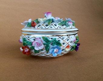 Lattice dish, floral bowl, flower decor, Floral lattice dish, white lattice bowl, vintage lattice jewelry dish, basket weave dish,