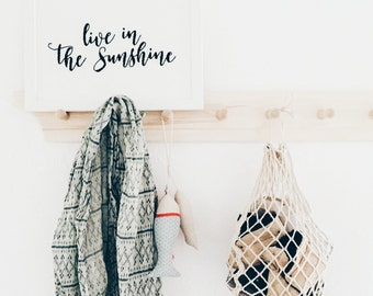 Live in the Sunshine Hand embroidered poster Wall art Black and White Home decor Wall Hangings Hand Embroidery Inspirational Quote