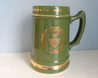 Large Vintage Jamestown Community College Beer Stein/1950's Beer Stein/JCC Beer Stein/Jamestown NY