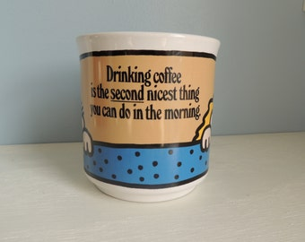 """Vintage Bedroom Humor Coffee Mug """"Drinking coffee is the second nicest thing you can do in the morning"""" Valentines day gift,Anniversary gift"""