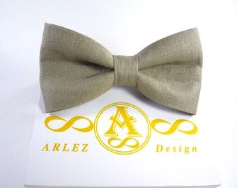 Pine Green Linen Bow Tie, Men's Linen Bow Tie, groomsmen bow tie, Green bow tie, bow tie for baby, Green boy's bow tie.