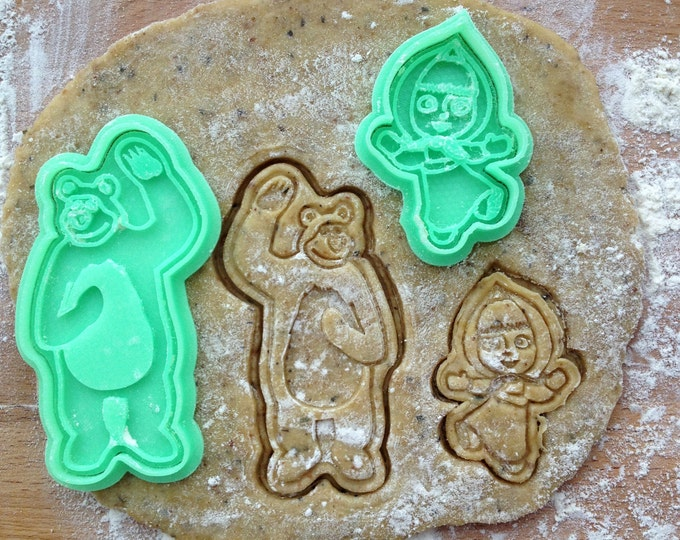 Masha and the bear cookie cutters set. Masha and the bear fairy tale kid's party supplies. Cookie cutters set of 2