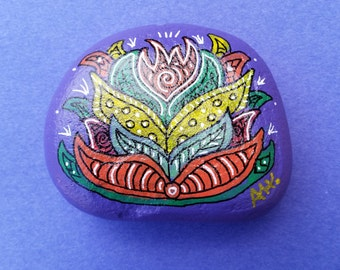 Hand Painted Rock - Plant 4