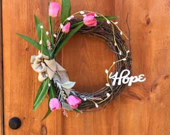 Tulip Wreath, Spring Wreath, Summer Wreath, Door Decor, Front Door Wreath, Grapevine Wreath, Wall Decor, Hope Wreath, Made In Canada
