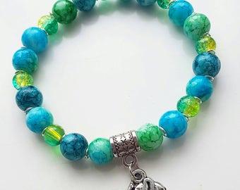 Marble beaded elephant bracelet