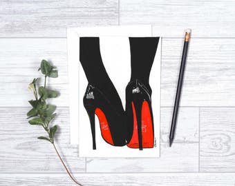 "Try These on For Size - Note Cards - 4""x6"" - Christian Louboutin - Gifts for her - Greeting Cards - Shoe Lover - Classic black - High Heels"