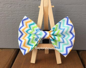 Bright zig zag dog bow tie