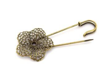 Safety 83mmx34mm ENS201601 filigree flower brooch pin
