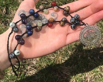 Chakra balancing & enlightening sterling silver crystal beaded necklace (adjustable)