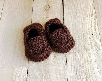 Baby Boy Shoes - Baby Loafers, Crochet Baby Shoes, Baby Summer Shoes, Toddler Summer Shoes, Brown Loafers, Baby Shower Gift, Baby Shoes