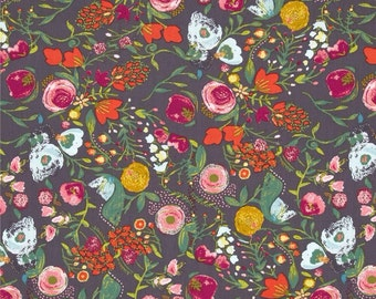 Budquette print in Nightfall - bari j. Cotton voile fabric