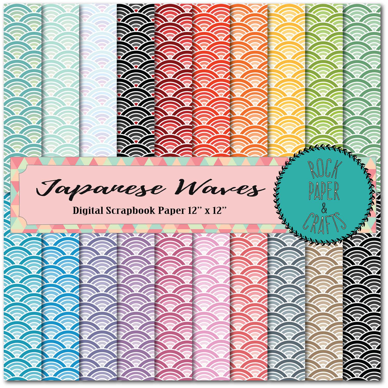 Scrapbook paper download - Japanese Waves Scrapbook Paper Mermaid Scales Fish Scales Digital Paper Digital Download Printable Commercial Use Instant Download