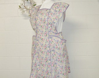 1940s  Retro Aprons / Size X Large / Women's Vintage Style with Pink, Lavender Floral Print on White / Baking Apron / Mothers Day Gift / #80