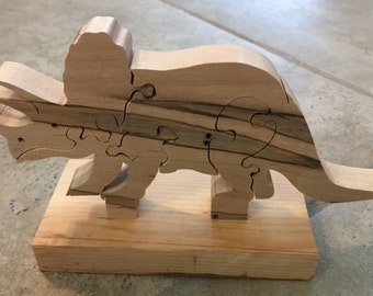 Handmade Wooden Triceratops Puzzle